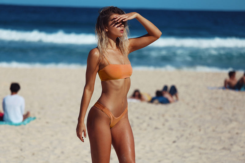 frankie swimwear frankii swim cannes crop burnt orange metallic seamless bikini frankieswimwear frankieswim