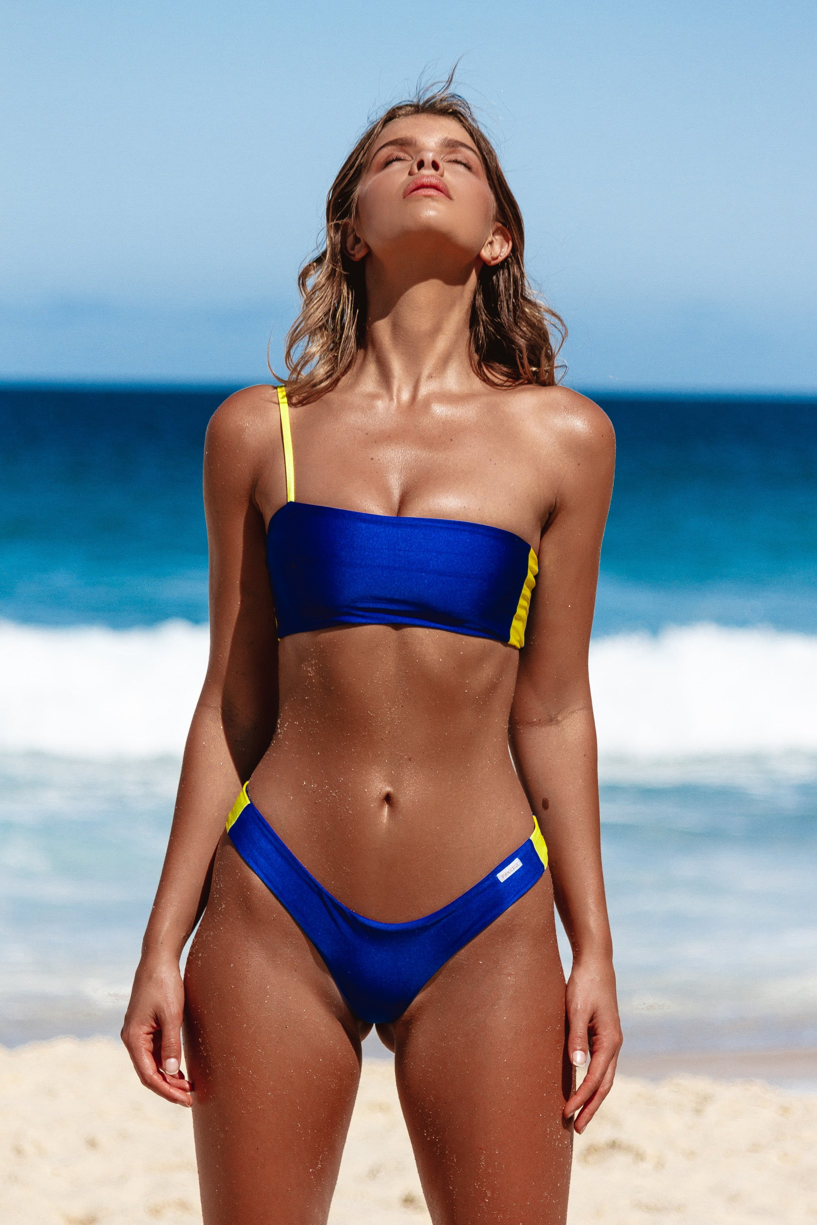 iixiist Cannes Crop Cobalt Blue One Shoulder Bikini Top Seamless Swimwear Frankii Swim Frankie Swimwear Frankie Swim
