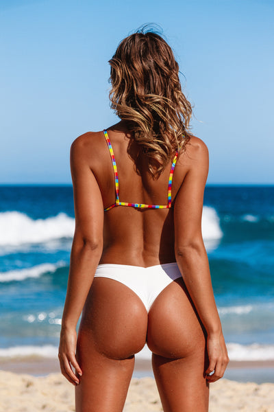 iixiist Hollywood Barbados bikini bottom matte white rainbow seamless bikini swimwear Frankii Swim Frankie Swim Frankie Swimwear