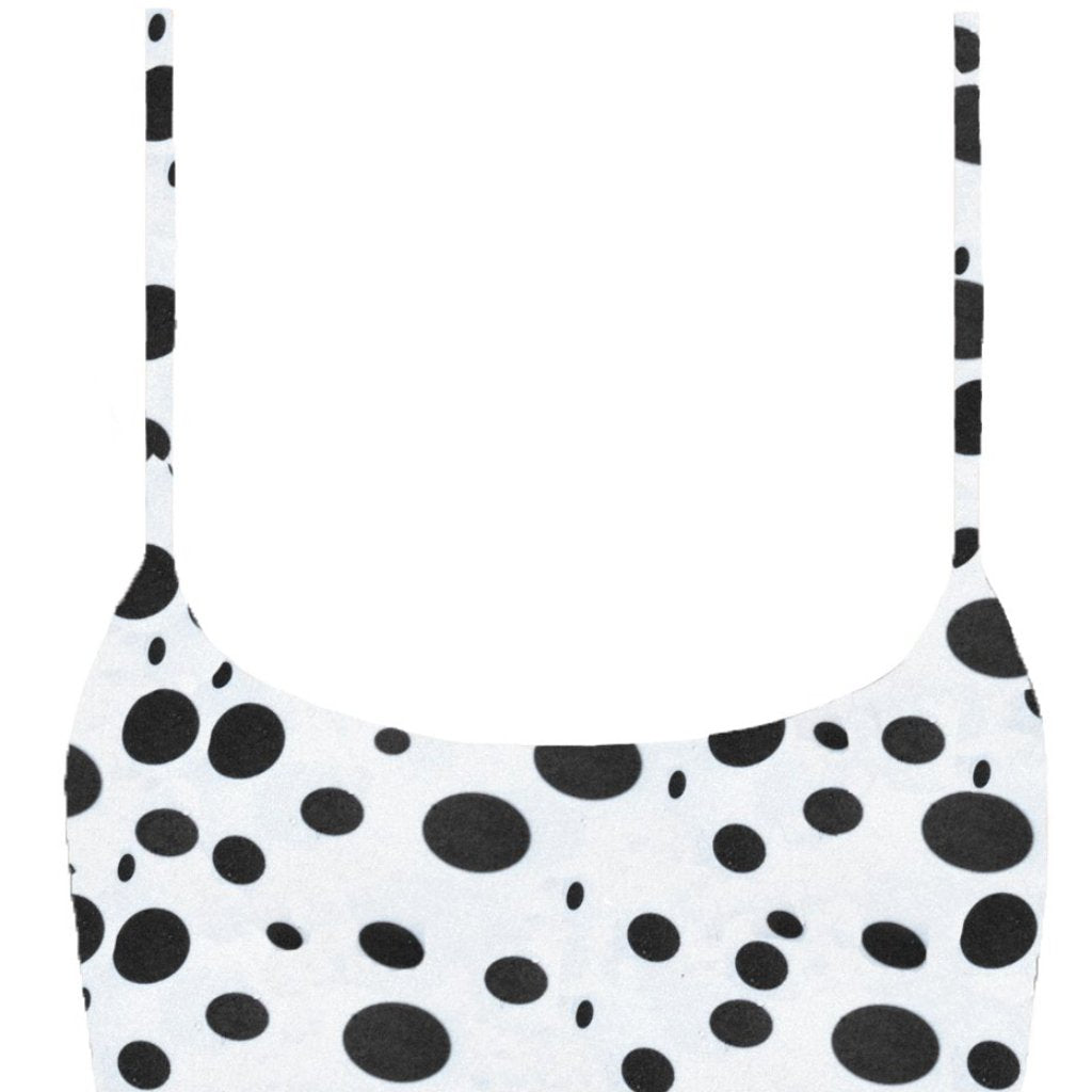 frankie swimwear frankii swim ohana top pebble white with black spots print seamless bikini frankieswimwear frankieswim