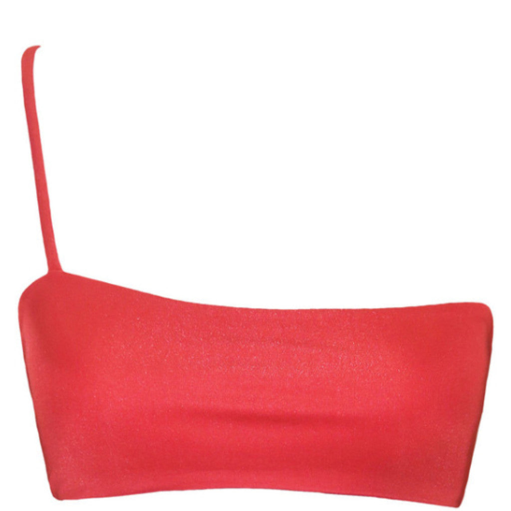 iixiist cannes crop poppy red seamless bikini top one shoulder frankie swimwear frankii swim frankieswimwear frankieswim