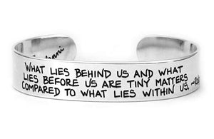ralph waldo emerson quote cuff bracelet sterling silver etched