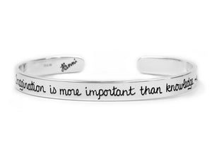 Imagination... Einstein Quote Jewelry, Sterling Silver Cuff Bracelet