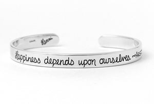 Happiness Aristotle quote sterling silver inscribed cuff bracelet
