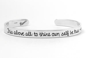 to thine own self be true shakespeare quote sterling bracelet