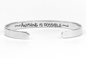 "Personalized Sterling Silver Custom Cuff Bracelet, 1/4"" wide"