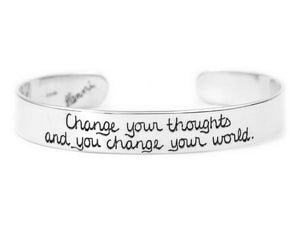 Change your thoughts change your world inspirational cuff bracelet