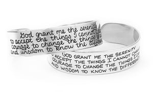 serenity prayer sterling silver cuff bracelet recovery jewelry