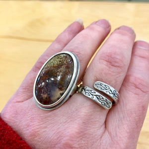 moss agate limitless silver ring by hanni jewelry