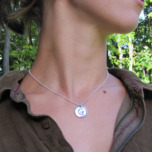 hanni initial necklace sterling silver model photo