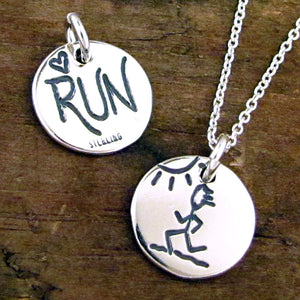 run necklace charm for runners love to run