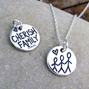 Sterling Silver Cherish Family Charm