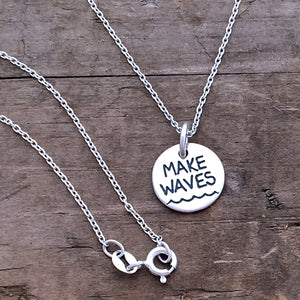rock the boat make waves charm necklace silver graduation gift