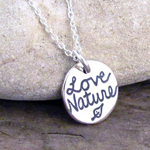 leaf nature love pendant necklace