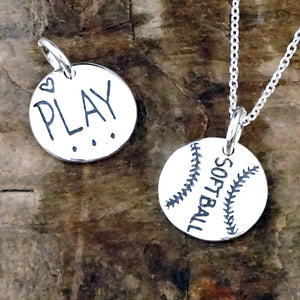 sterling silver love softball charm