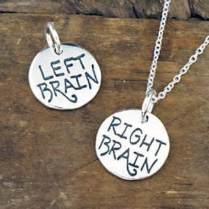 left brain right brain silver pendant