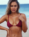 iixiist Cherry Tropez Tri Triangle Bikini Top Deep Red Plum Seamless Swimwear Frankii Swim Frankie Swim Frankie Swimwear
