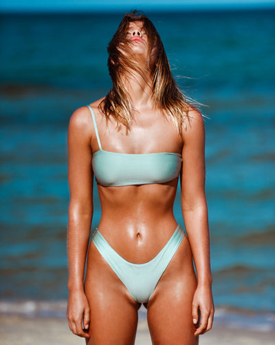 CANNES CROP MINT METALLIC SPEARMINT BLUE RIBBED SEAMLESS FRANKIE SWIMWEAR FRANKIESWIMWEAR FRANKII SWIM FANKIISWIM BIKINI SWIMWEAR BARBADOS BOTTOM