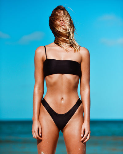 CANNES CROP ONYX METALLIC TRUE BLACK RIBBED SEAMLESS FRANKIE SWIMWEAR FRANKIESWIMWEAR FRANKII SWIM FANKIISWIM BIKINI SWIMWEAR BARBADOS BOTTOM