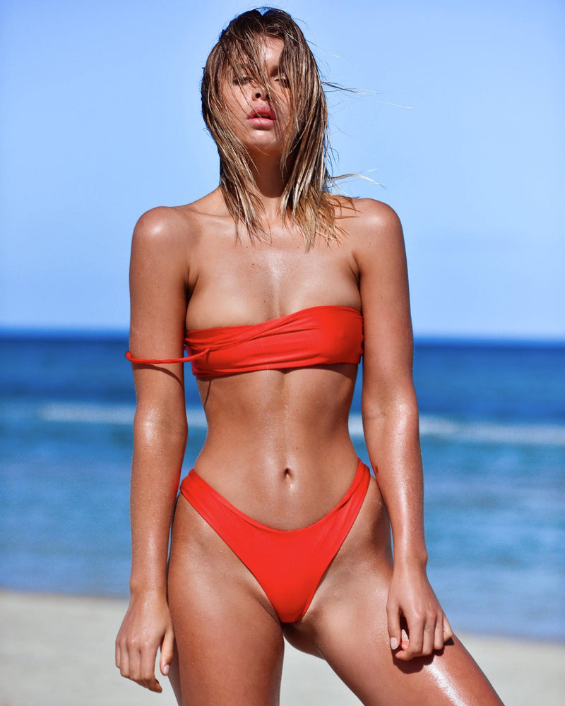 CANNES CROP POPPY METALLIC LIGHT RED SEAMLESS FRANKIE SWIMWEAR FRANKIESWIMWEAR FRANKII SWIM FANKIISWIM BIKINI SWIMWEAR