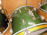 Vintage 1950s Gretsch Round Badge Cadillac Green Nitron Birdland 3pc Drum Set Kit
