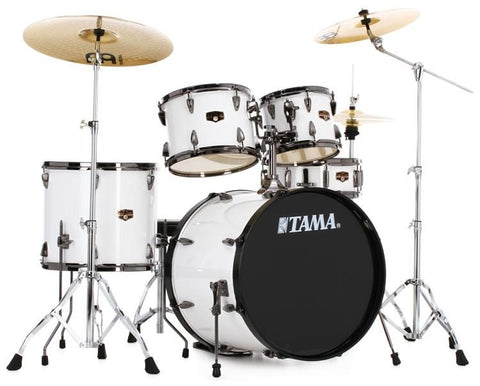 Tama 5pc Imperialstar Complete Drum Set w/Cymbals and Hardware Sugar White