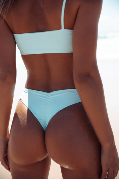 FRANKIE SWIMWEAR FRANKIESWIMWEAR FRANKII SWIM FANKIISWIM BARBADOS BOTTOM CANNES CROP WATEGOS MATTE POWDER BLUE SEAMLESS BIKINI SWIMWEAR