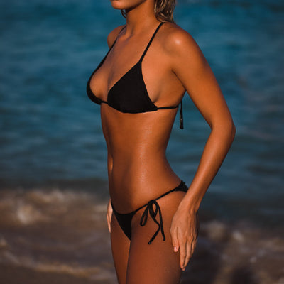 CLASSIC TRIANGLE TIE UP BRAZILIAN BOTTOM BASALT METALLIC BLACK FRANKIE SWIMWEAR FRANKIESWIMWEAR FRANKII SWIM FANKIISWIM BIKINI SWIMWEAR