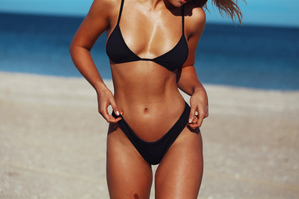 TROPEZ TRI TOP MIDNIGHT MATTE BLACK SEAMLESS FRANKIE SWIMWEAR FRANKIESWIMWEAR FRANKII SWIM FANKIISWIM BIKINI SWIMWEAR BARBADOS BOTTOM