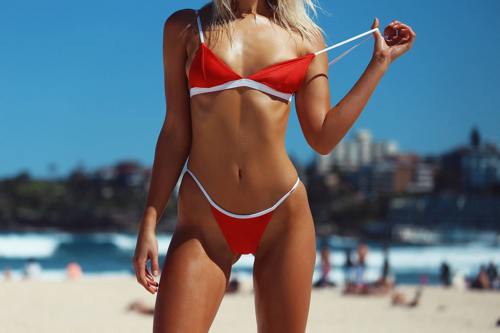 DARLING BRALETTE G3 BOTTOM F1 TWO TONE RED WHITE FRANKIE SWIMWEAR FRANKIESWIMWEAR FRANKII SWIM FANKIISWIM BIKINI SWIMWEAR