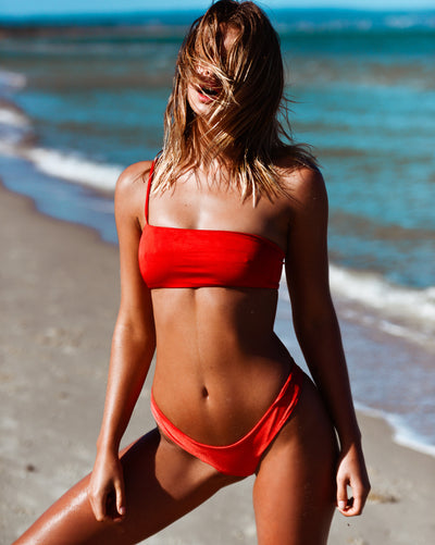 CANNES CROP BARBADOS BOTTOM ROUGE RIBBED METALLIC RED SEAMLESS FRANKIE SWIMWEAR FRANKIESWIMWEAR FRANKII SWIM FANKIISWIM BIKINI SWIMWEAR