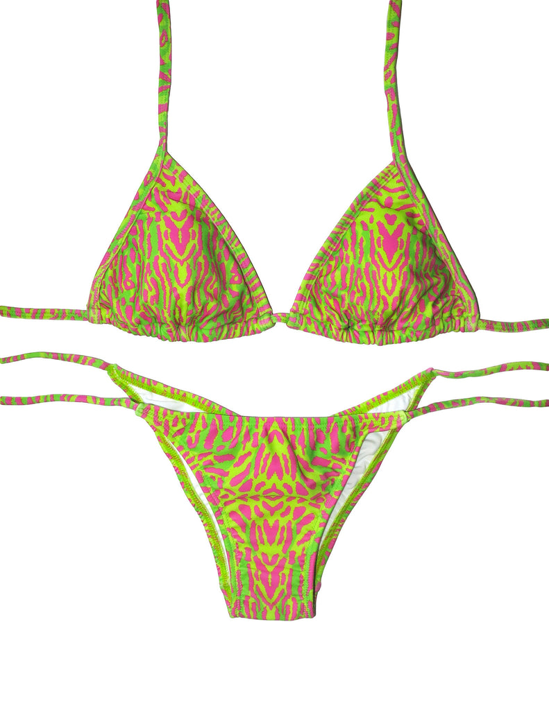 CLASSIC TRIANGLE TIE UP BRAZILIAN BOTTOM GISELE ELECTRIC HOT PINK GREEN PRINT FRANKIE SWIMWEAR FRANKIESWIMWEAR FRANKII SWIM FANKIISWIM BIKINI SWIMWEAR