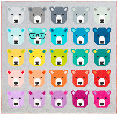 Bjorn Bear quilt kit - kona cotton background