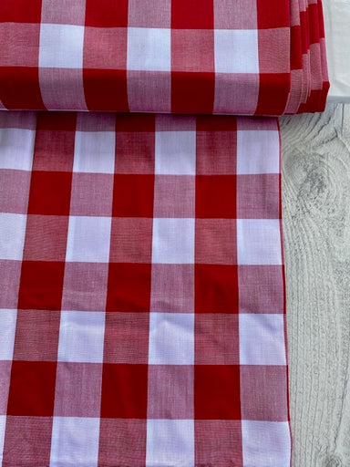 Japanese Gingham - 1.5 inch in cherry red