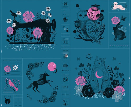 Ruby Star Society - Sarah Watts - Crescent Novelty Forest panel in DARK TEAL
