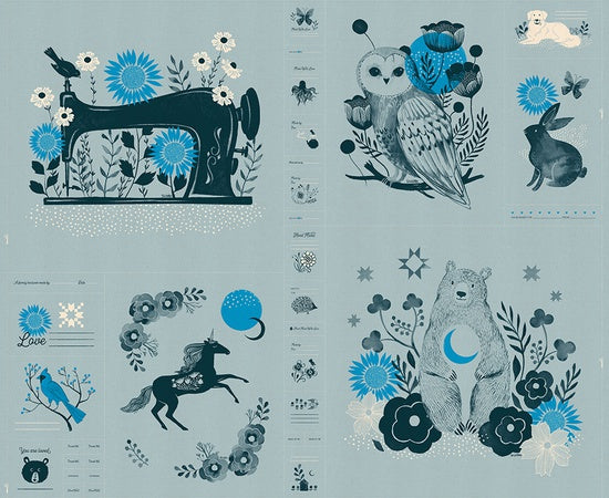 Ruby Star Society - Sarah Watts - Crescent Novelty Forest panel in soft blue