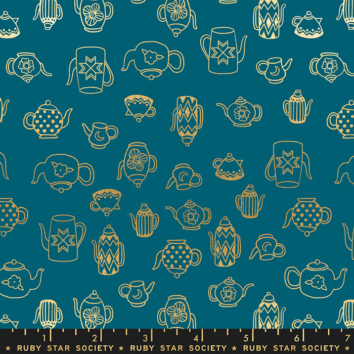 Sarah Watts - Purl - Tea Time in teal metallic - The Next Stitch