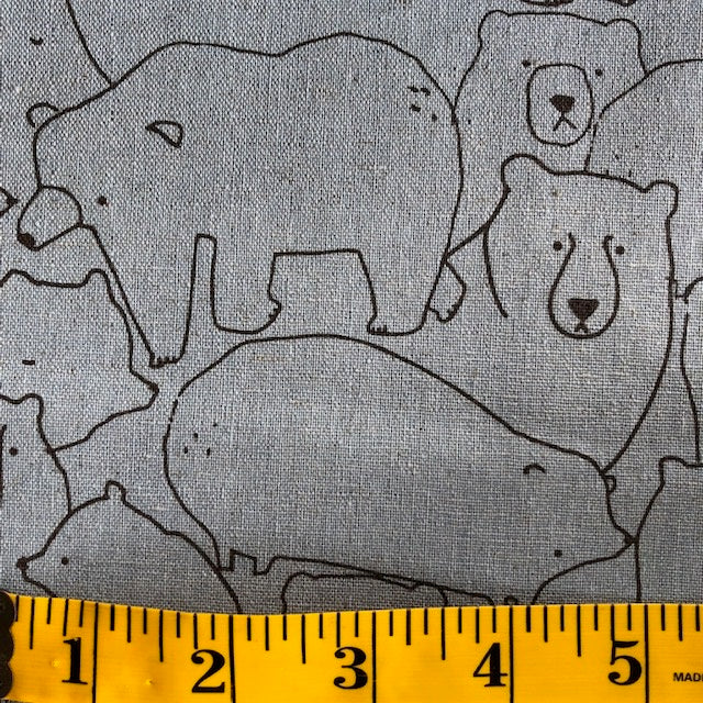 Sevenberry Canvas- Jilly P - Bears in shale blue