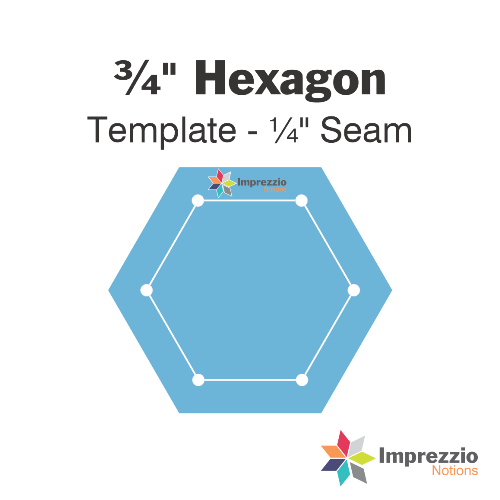 "3/4 inch hexagon template - 1/4"" seam"