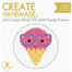 Create Handmade -  Ice Cream mini cross stitch kit with hoop