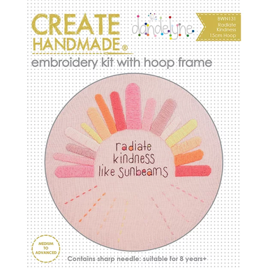 Create Handmade -  Radiate Kindness embroidery kit with hoop