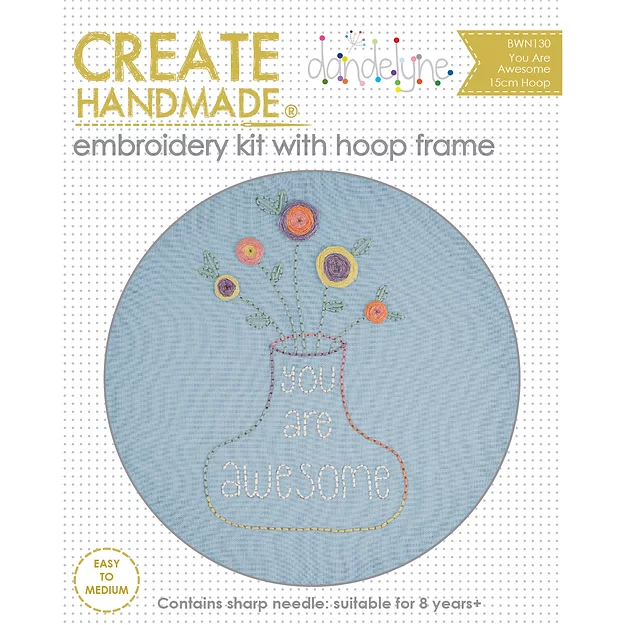 Create Handmade -  You Are Awesome embroidery kit with hoop