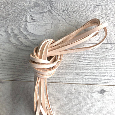 Leather zipper pulls - 3mm wide in natural veg