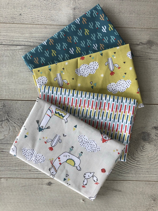 Le Tissu  by Domotex- Limaja llamas bundle of 4 FQs