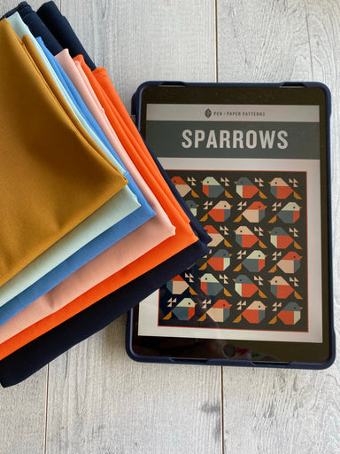 Pen + Paper Patterns - Sparrows quilt kit in Kona cotton
