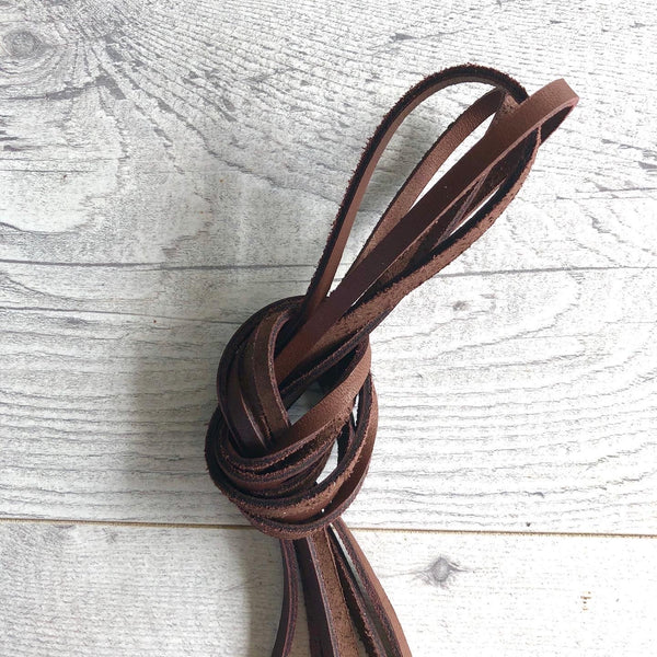 Leather zipper pulls - 1/4 inch wide in vintage brown