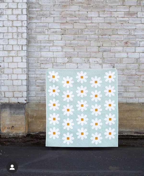 Fresh as a Daisy - Pen and Paper Patterns -  throw quilt kit in Kona cotton