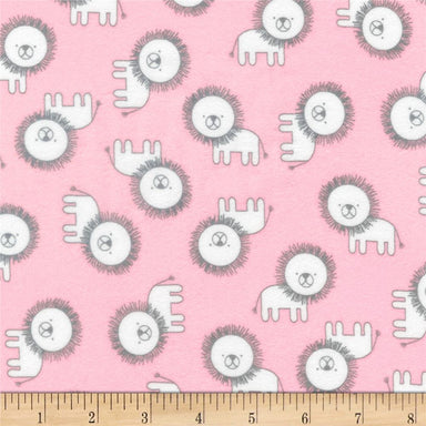 Robert Kaufman Flannels - Penned Pals - Lions in pink - The Next Stitch