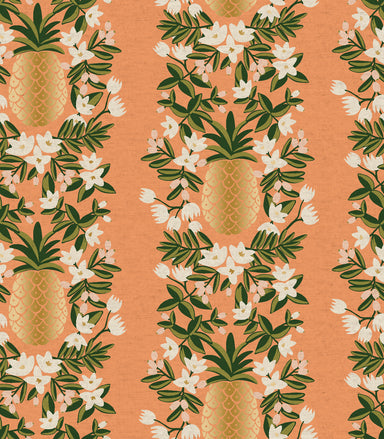 Rifle Paper Co - Primavera - Pineapple Stripe (canvas) in peach metallic - The Next Stitch