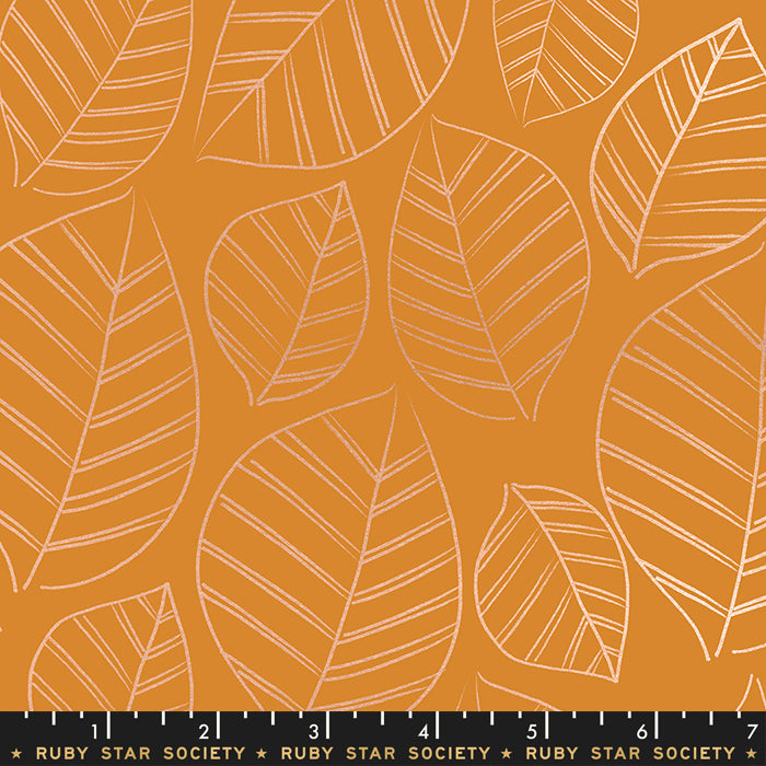 Ruby Star Society - Aviary - Leafy Metallic in caramel - The Next Stitch